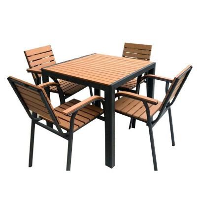 Bàn ghế nan composite giả gỗ vuông ngoài trời