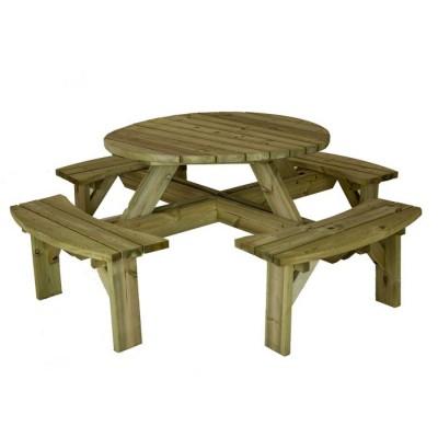 Bàn ghế băng liền bằng gỗ ngoài trời