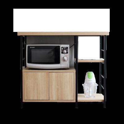 Nội thất chung cư đẹp - Kệ bếp ăn khung đen có tủ đựng