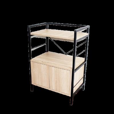 Kệ 3 tầng khung đen gỗ sồi có tủ đi kèm tiện dụng