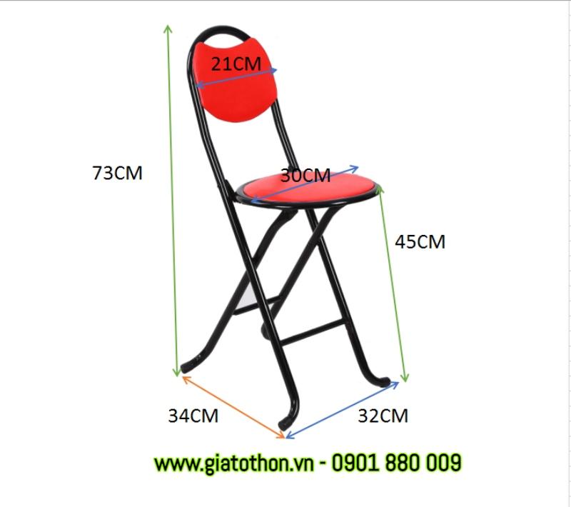ghế inox tựa lưng kích thước