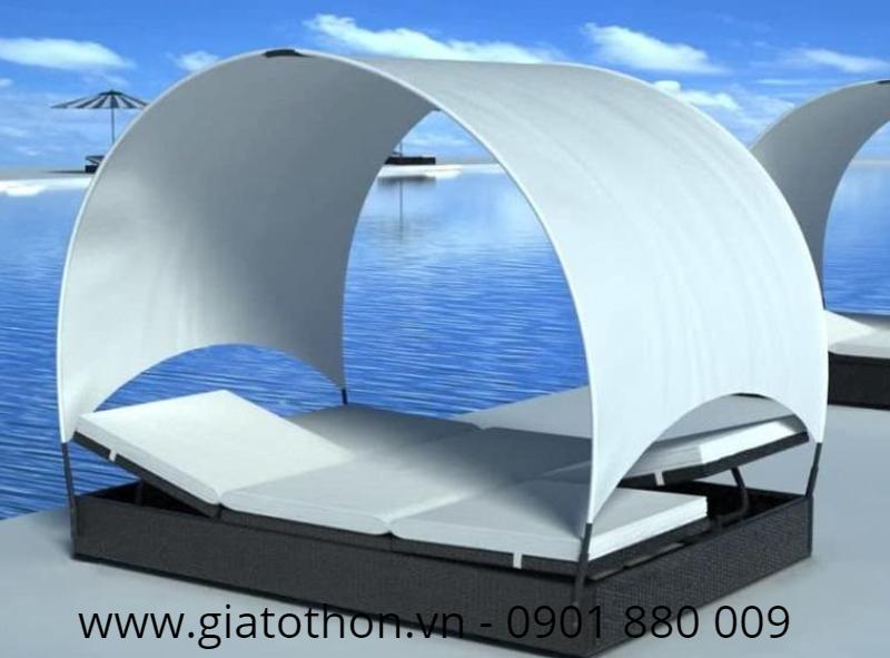 xưởng sản xuất giường tắm nắng nhựa giả mây
